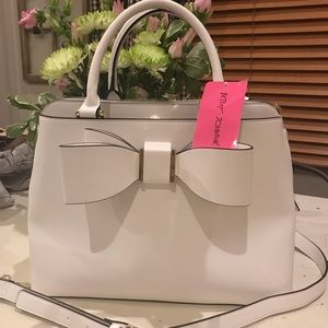 NWT Betsey Johnson Structured cream satchel